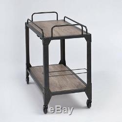 Rustic Oak Wine Serving Cart Glass Bottle Rack Metal Vintage Industrial Trolley