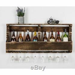 Rustic Vintage Floating Shelf Pallet Wine Glass Bottle Rack Home Kitchen Decor