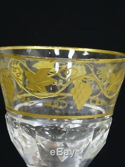 SET 10 VINTAGE 50's VAL St LAMBERT CRYSTAL PAMPRE D'Or GRAPES WINE GLASS 5 5/8