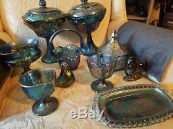 SET 10 Vtg Iridescen Harvest Grape Carnival Glass Blue Fruit Canistet Wine Goble