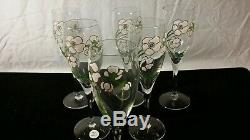 SET 6 Perrier Jouet Hand Painted Flower Champagne Wine Flute Glasses Vintage