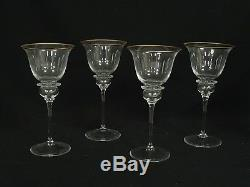 SET of 4 VINTAGE 70's GUCCI WINE GLASSES with GOLD TONE RIM 8 H