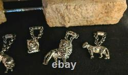 ST JOHN Home LION Wine Glass CHARM Markers Set -Vintage with SWAROVSKI Crystals