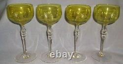 S/4 VINTAGE CHARTREUSE & CLEAR CUT CRYSTAL WINE HOCK GLASSES withFACETED STEMS