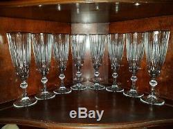 Saint St Louis set of 8 vintage crystal Champagne glasses LOA