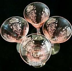 Se of 4 Vintage Tiffin Pink Flanders Wine Goblets 6'