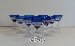 Set/10 Vintage Crystal Wine Goblets, Cobalt Cut-to-Clear