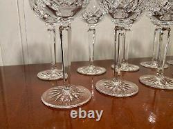 Set 10 Vintage WATERFORD CRYSTAL Lismore Tall Wine Glasses Hocks Goblets IRELAND