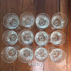 Set 12 Gorham CHERRYWOOD CLEAR Vintage Cut Crystal Wine Glasses Goblets