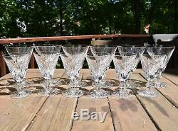 Set 12 Waterford Cut Crystal Eileen Water Wine Goblets Vintage Irish Glass