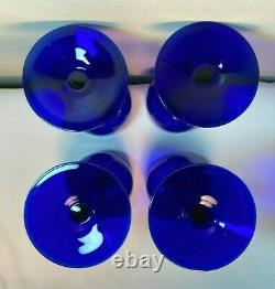 Set 4 Vintage Carlo Moretti Murano Cobalt Blue Stem White Cased Wine Glasses