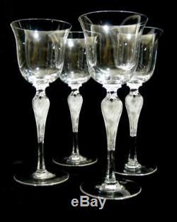 Set 4 Vintage Igor Carl Faberge Crystal Wine Glasses Anna Pavlova Lalique Style