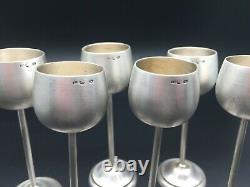 Set 6 Antique Goblets Wine Solid Silver Glasses Vintage 220Gr