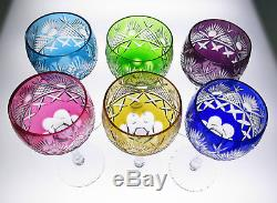 Set 6 Quality Cut To Clear Wine Hock Multi-Color Crystal Glasses Bohemian French