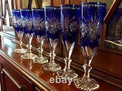 Set 6 Vintage Cobalt Blue Cut to Clear Wine Champagne Flutes Star & Fan Pattern