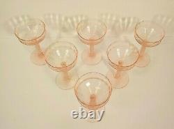 Set/6 Vintage Elegant Glass Champagne / Wine Goblets, Ribbed Stem