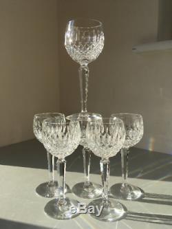 Set 6x Vintage Waterford Crystal Colleen Hock Wine or Stemmed Cocktail Glasses