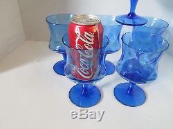 Set 8 Vintage Empoli Italian Wine Teas Goblets BLUE Glasses Optic Design 6.25 t