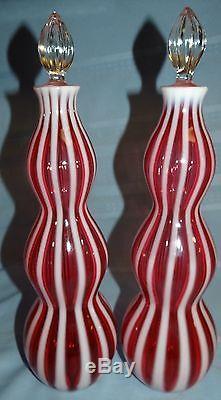 Set Fenton Cranberry Opalescent Rib Stripe Wine Bottles Decanter Stopper Lot Vtg