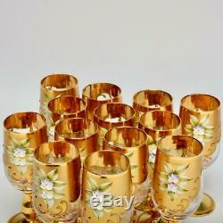 Set Of 13 Vintage Murano Tre Fouchi Gold Encrusted Wine Glasses