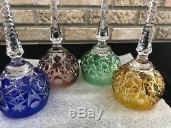 Set Of 4 Ajka Dinasty Cut To Clear Crystal Hock Wine Glasses Vintage Multi Color