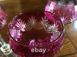 Set Of 5 Vintage Bohemian Ruby Cut To Clear Hock Wine Glasses 6 7/8