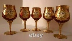 Set Of 5 Vintage Murano Venetian Ruby Red Hand Painted Wine Glass Goblet