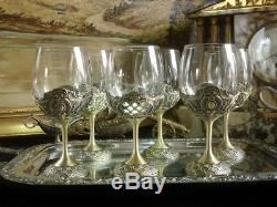 Set Of 6 Brass Plated Wine Glasses Chalices Water Baroque Antique Vintage Gift