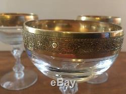 Set Of 8 Vintage Gold Rim Tiffin Franciscan Crystal Westchester Wine Glasses