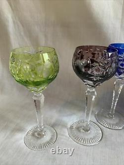 Set Of Eight Colored Vintage Nachtmann Hock Traube Wine Glasses And Decanter