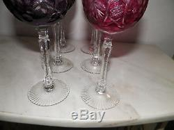 Set Of Six (6) Vintage Czech Bohemian Cut To Clear Crystal Wine Glasses 7 1/8