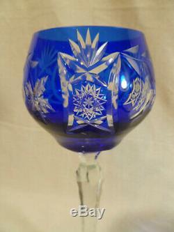 Set Of Three Vintage Nachtmann German Cobalt Blue Cut Crystal Glass Wine Goblets
