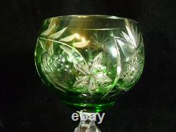 Set Of Three Vintage Nachtmann Germany Green Cut Crystal Glass Wine Goblets