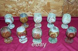 Set of 10 Vintage Marble Onyx Wine Glasses Stemware Stone Cup Chalice Old Goblet