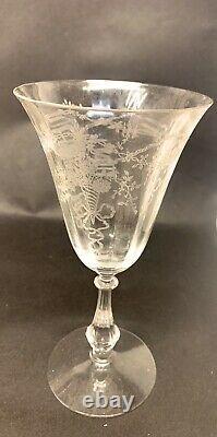 Set of 12 Vintage Etched Stemware Floral & Leaf Design Wine Glasses. 5 Plates