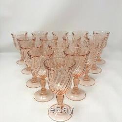Set of 15 Rosaline Pink Blush French Arcoroc Swirl Vintage Wine Glasses Lot
