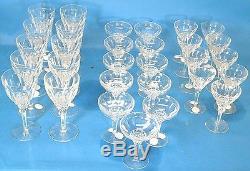 Set of 30 Vintage Tiffin Hand-Cut Crystal Wine Glasses