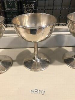 Set of 4 Unger Brothers Sterling Silver Cup Chalice Goblet, Wine Glasses B2233