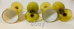 Set of 4 Vintage Carlo Moretti Butterscotch/Topaz Wine/Cordial Glasses