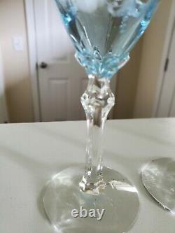 Set of 4 Vintage Fostoria Versailles Azure Etched Crystal 3oz Wine Goblets