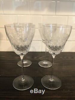 Set of 4 large vintage Rosenthal Romance II Crystal Red Wine Glasses 7 2/5