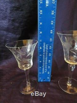 Set of 51 Vintage Matching Stemmed Etched Wine/ Cocktail/ Martini glasses