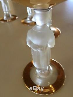Set of 5 Vintage Bayel Bacchante 24KT Gold Napoleon Stem Wine Goblets