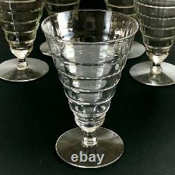 Set of 5 Vintage Crystal Water Wine Glass Flare Goblet Stemware