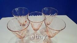 Set of 5 Vintage Pink Depression Optic Wine Glasses