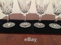 Set of 5 Vintage WATERFORD CRYSTAL Lismore Tall 10 oz Water Wine Glasses Goblets