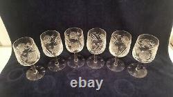 Set of 6 Antique Hand Blown & Cut Etched Long Stem Crystal Wine Glasses 8 oz