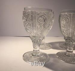 Set of 6 Antique / Vintage French Baccarat moulded glass wine goblets