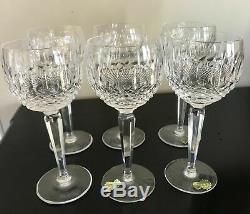 Set of 6 NEW Vintage Waterford Wine Hock Cocktail 7.5 Tall Colleen, 3 Rim