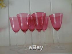 Set of 6 Rare Vintage Depression Cranberry Pilgrim Glass 8 Wine Water Goblet